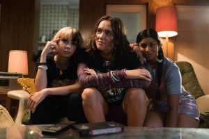 Everything All At Once Film Still. Three girls sitting on couch.