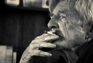 Yer Old Faither Film Image - Black and White. Portrait of John Croall smoking.